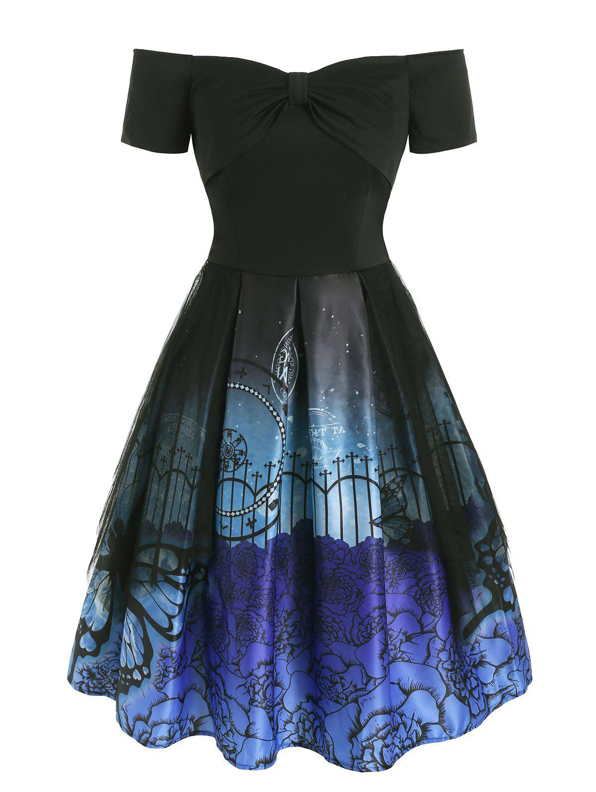 New Flower Butterfly Print Bowknot Lace Panel Dress
