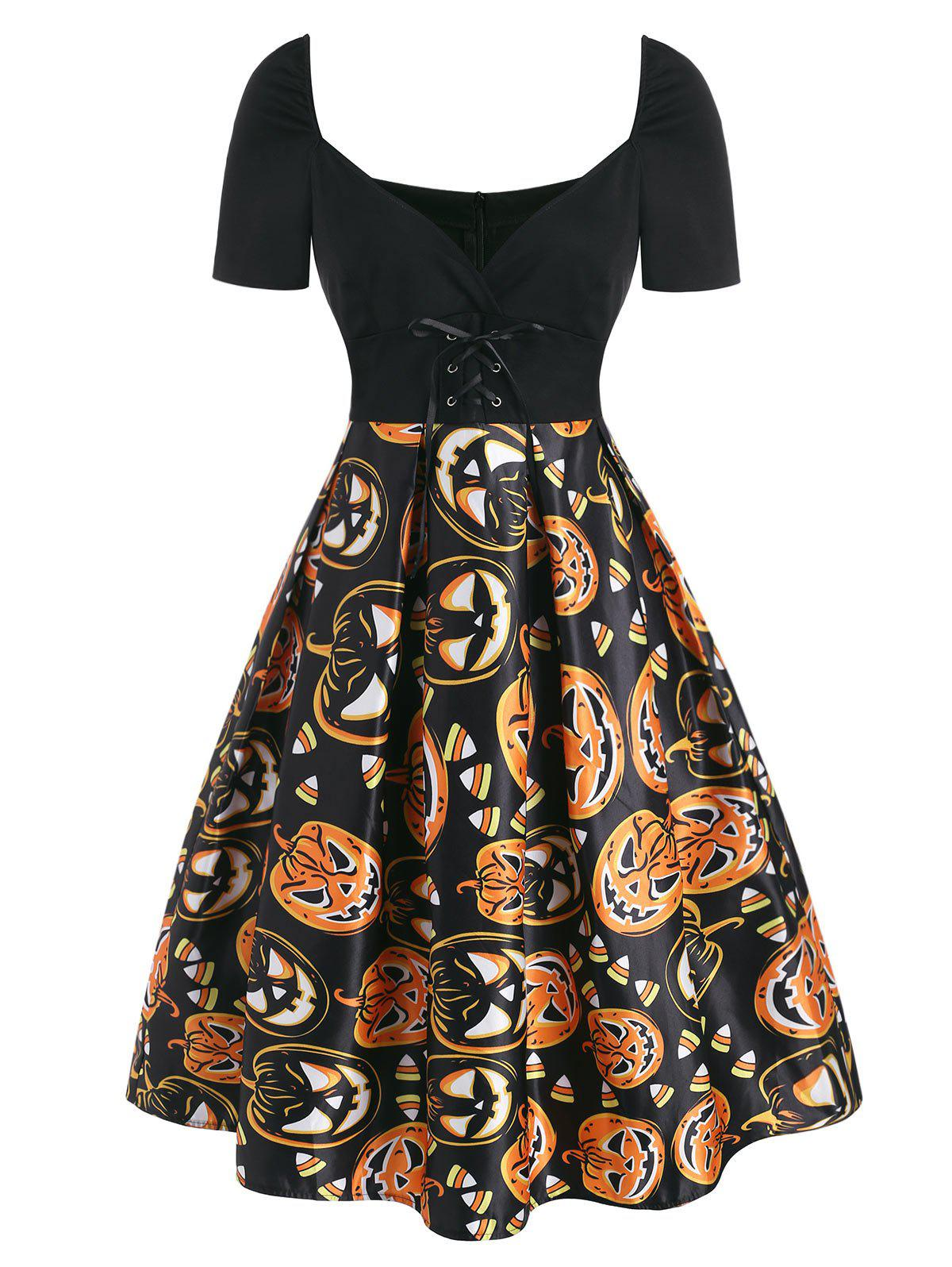 Affordable Halloween Pumpkin Plunging Lace Up Dress