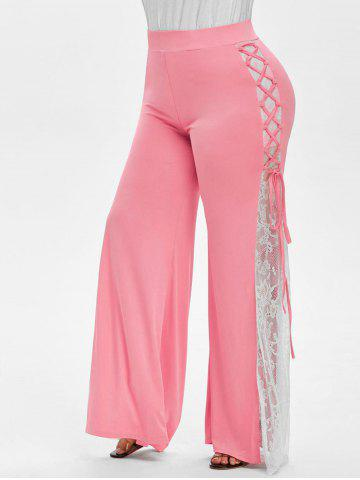 Plus Size Lace Insert Bell Bottom Pants - VALENTINE RED - L