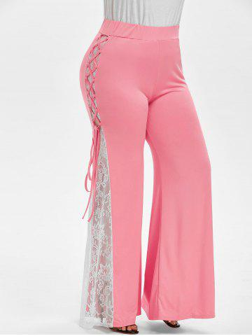 Plus Size Lace Insert Bell Bottom Pants