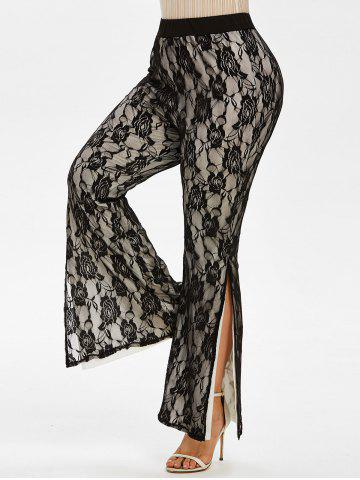 Layered Side Slit Lace Plus Size Flare Pants