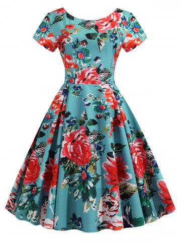 Floral Pleated Detail A Line Dress