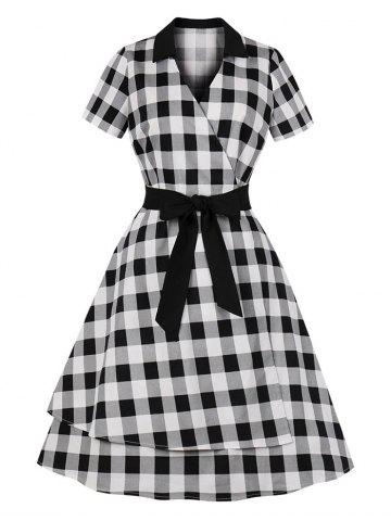 Checked Belted A Line Surplice Dress