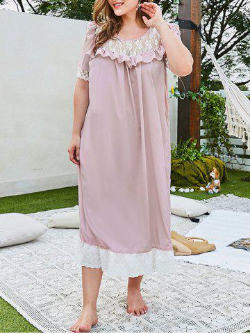 Plus Size Lace Panel Ruffle Broderie Anglaise Hem Nightgown