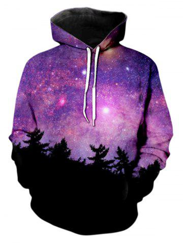Drawstring Starry Pattern Front Pocket Hoodie