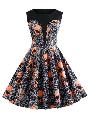 Halloween Skulls Flower Printed High Waisted Retro Dress