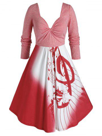 Plus Size Musical Notes Twisted Square Back Dress - RED - 4X