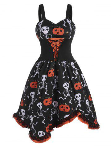 Robe d'Halloween Citrouille Crâne à Lacets à Volants - BLACK - S