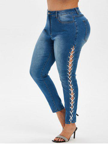 Plus Size Lace Up Faded Jeans