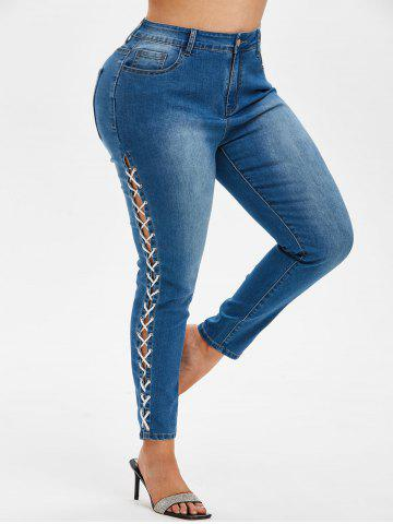 Plus Size Lace Up Faded Jeans - DEEP BLUE - 2X