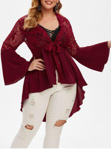 Plus Size Plunge Front Tie High Low Top - RED WINE - L