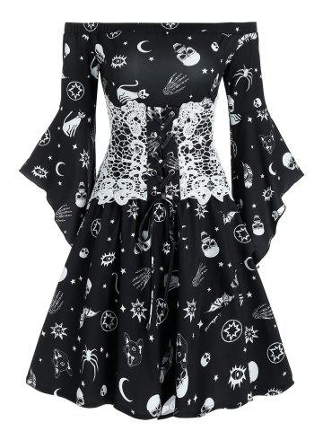 Animal Skull Print Off Shoulder Flare Sleeve Mini Dress