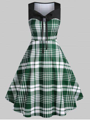 Tie Collar Plaid Print Sleeveless Vintage Dress