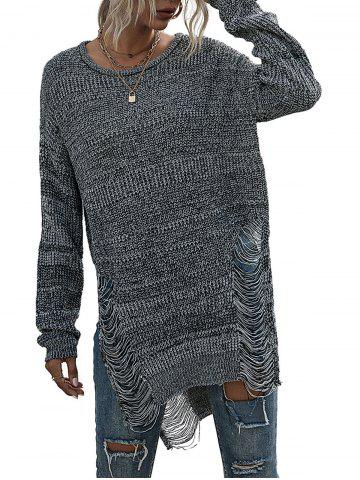 Marled Ripped Destroyed Slit Sweater