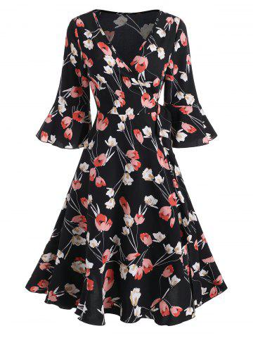 Floral Print V Neck Ruffled Wrap Dress