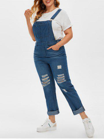 Plus Size Ripped Destroyed Dungaree Jumpsuit - DEEP BLUE - 3X
