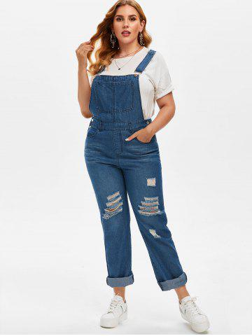 Plus Size Ripped Destroyed Dungaree Jumpsuit
