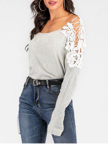 Crocheted Lace Panel Batwing Sleeve Sweater - LIGHT GRAY - XL