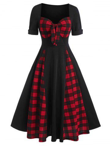 Sweetheart Neck Bow Tartan Panel A Line Dress