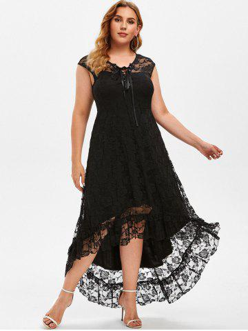 Plus Size Lace High Low Maxi Party Dress