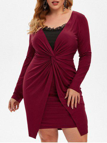Plus Size Twist Lace Panel Ruched Fitted Dress - DEEP RED - 3X