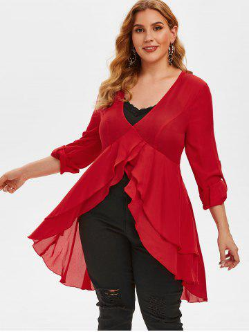 Plus Size High Low Chiffon Blouse and Tank Top Set