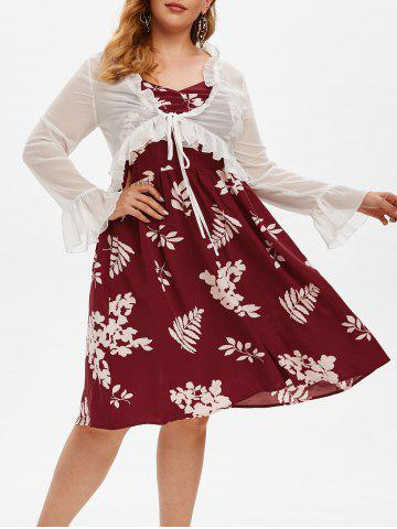 Plus Size Floral A Line Dress and Ruffle Tied Top Set - RED WINE - 2X