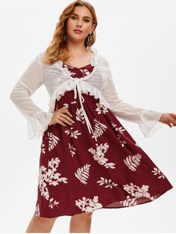 Plus Size Floral A Line Dress and Ruffle Tied Top Set