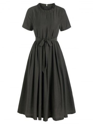 Short Sleeve Pleated Belted Casual Dress