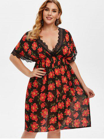 Plus Size Plunge Chiffon Floral Intimate Dress
