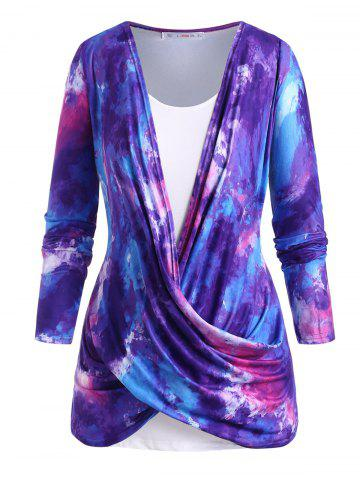 Cowl Twisted Front Tie Dye Plus Size Top Set