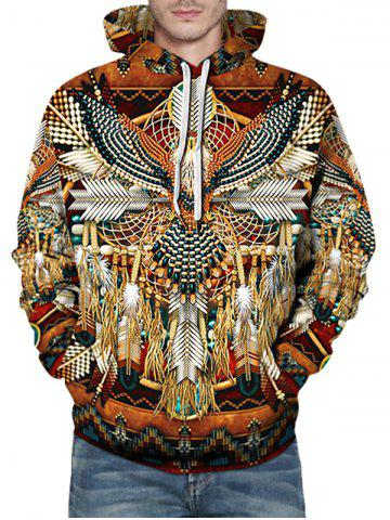Indian Eagle Dreamcatcher Pattern Front Pocket Pullover Hoodie - MULTI - 2XL