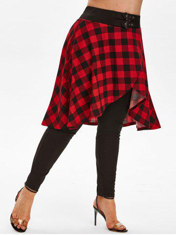 Plus Size Buckles Plaid Skirted Pants
