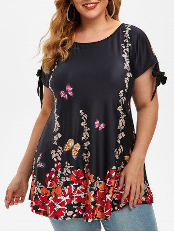 Plus Size Floral Butterfly Print Tie Sleeve T Shirt - BLACK - 2X