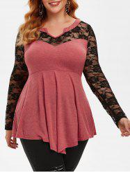 Plus Size Flower Lace Panel Flare Top -