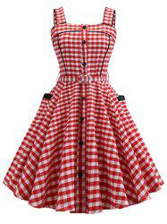 Plaid Piping Side Pocket Belted Sleeveless Dress -
