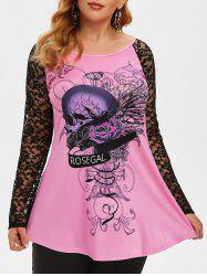 Plus Size Halloween Lace Sleeve Skull Print T Shirt -