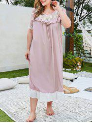 Plus Size Lace Panel Ruffle Broderie Anglaise Hem Nightgown -