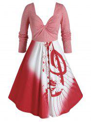 Plus Size Musical Notes Twisted Square Back Dress -
