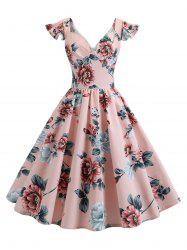 Vintage High Waisted Floral Dress -
