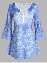 Plus Size Bell Sleeve Floral Print Keyhole T Shirt -