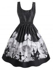 Halloween Castle Striped Bowknot Print Sleeveless Dress -