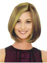 Medium Mixed Color Straight Side Part Bob Synthetic Wig -