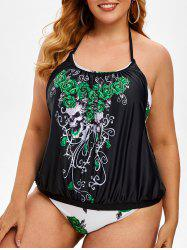 Plus Size Double Up Skull Floral Print Tankini Swimwear -