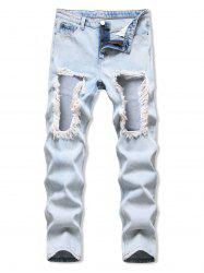 Frayed Cut Out Acid Wash Tapered Jeans -