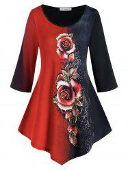 Plus Size Asymmetric Rose Print Two Tone T Shirt -