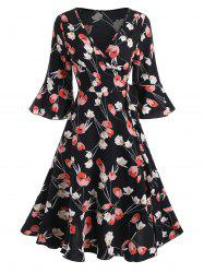 Floral Print V Neck Ruffled Wrap Dress -