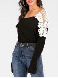 Crocheted Lace Panel Batwing Sleeve Sweater -
