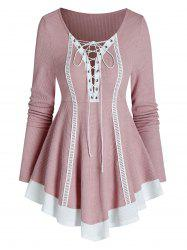 Bicolor Lace Up Knitted A Line Top -
