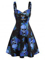Skull Floral Print Chain Cami A Line Dress -